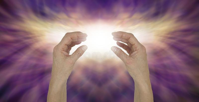 Sensing high resonance transcendental healing energy stock photo