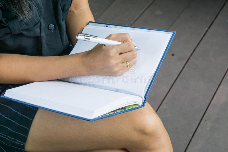 Download Female Hands With Pen Writing On Notebook Stock Image - Image of journalist, hand: 83707661