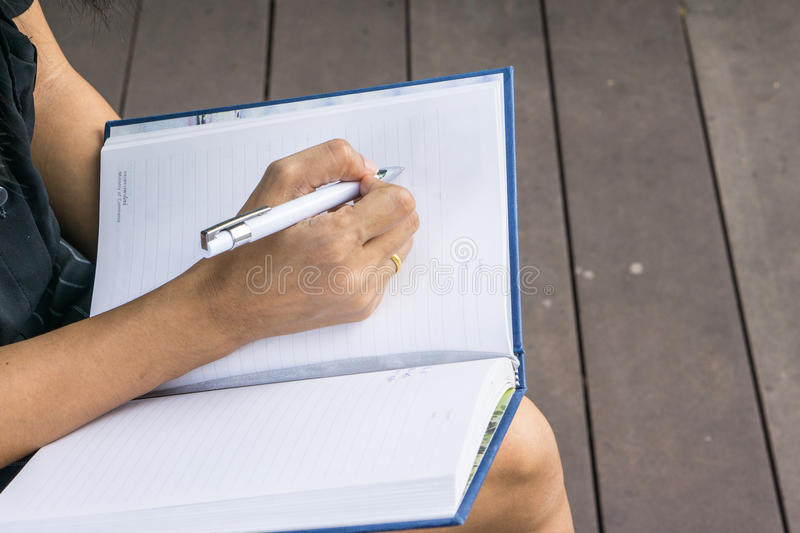 Download Female Hands With Pen Writing On Notebook Stock Image - Image of notepad, page: 83708441
