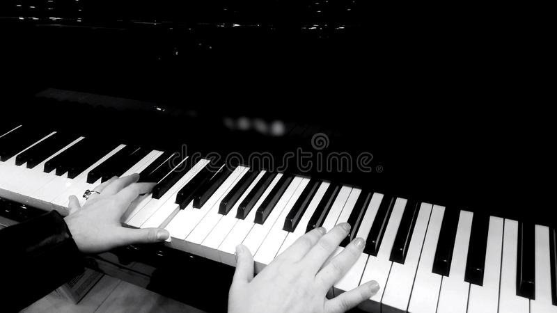 Female hands playing piano, concert of classical music, black and white closeup royalty free stock photos