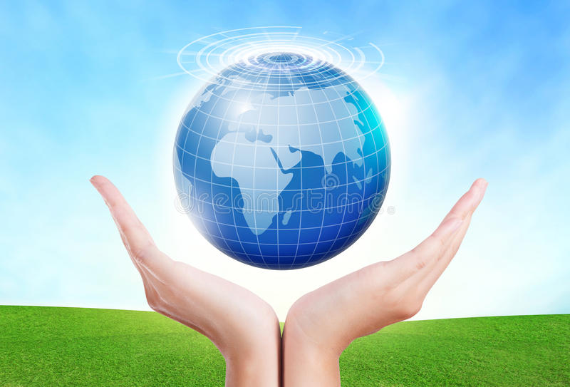 Female hands save environment keep in the world blue planet. stock photos