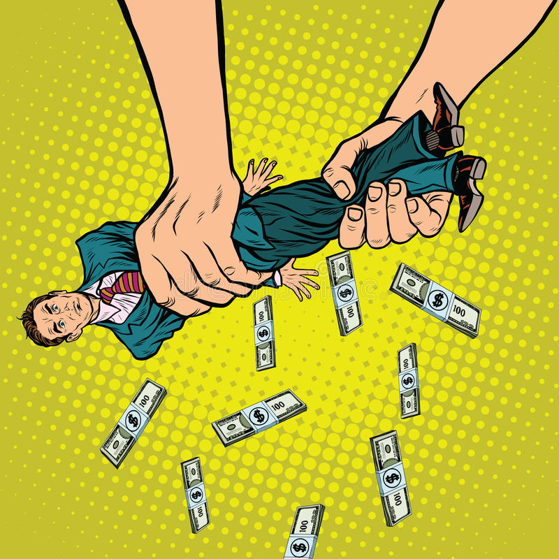 Female hands squeeze men money royalty free illustration