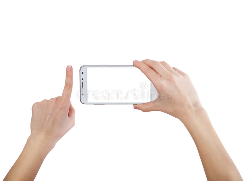 Female hands taking photo with smart phone of blank white touch screen, front view, isolated stock photography