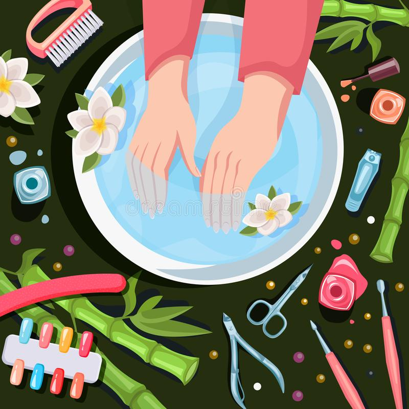Female hands, top view  illustration. Spa procedures, manicure and relax. Beauty salon hands and nails care royalty free illustration