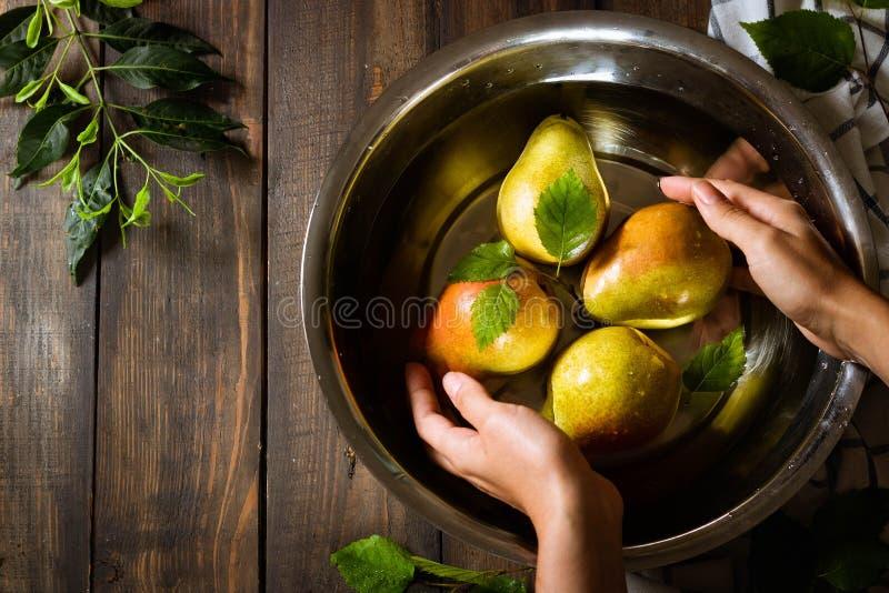 Female hands wash an organic pear crop in a tin basin stock image
