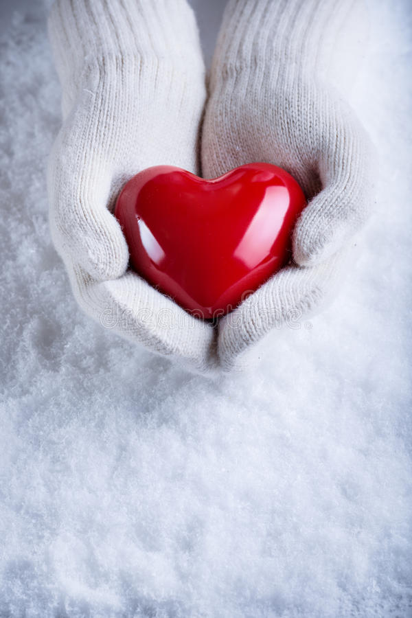Female hands in white knitted mittens with a glossy red heart on a snow winter background. Love and St. Valentine cozy concept stock images