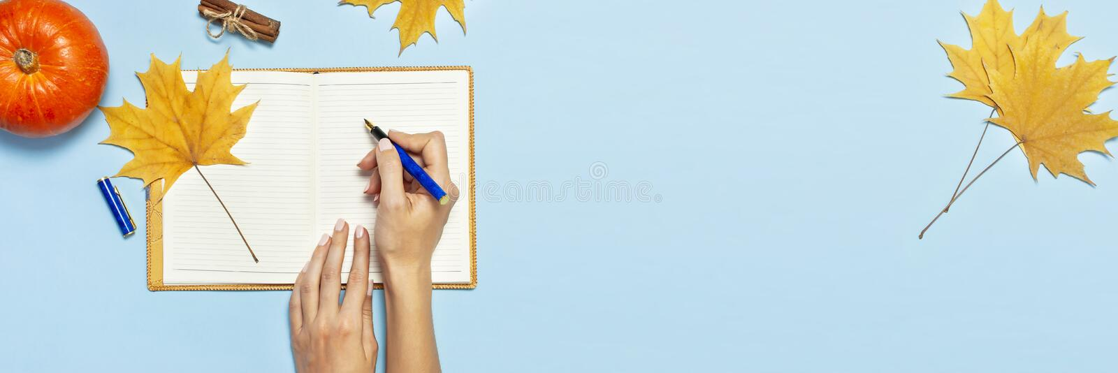 Female hands write in the Open blank notebook with a yellow autumn maple leaf, orange pumpkin, cinnamon on blue background top vie stock photography