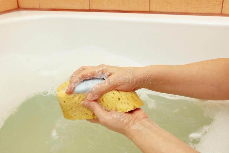 Female hands with yellow sponge with soap in bathroom stock images