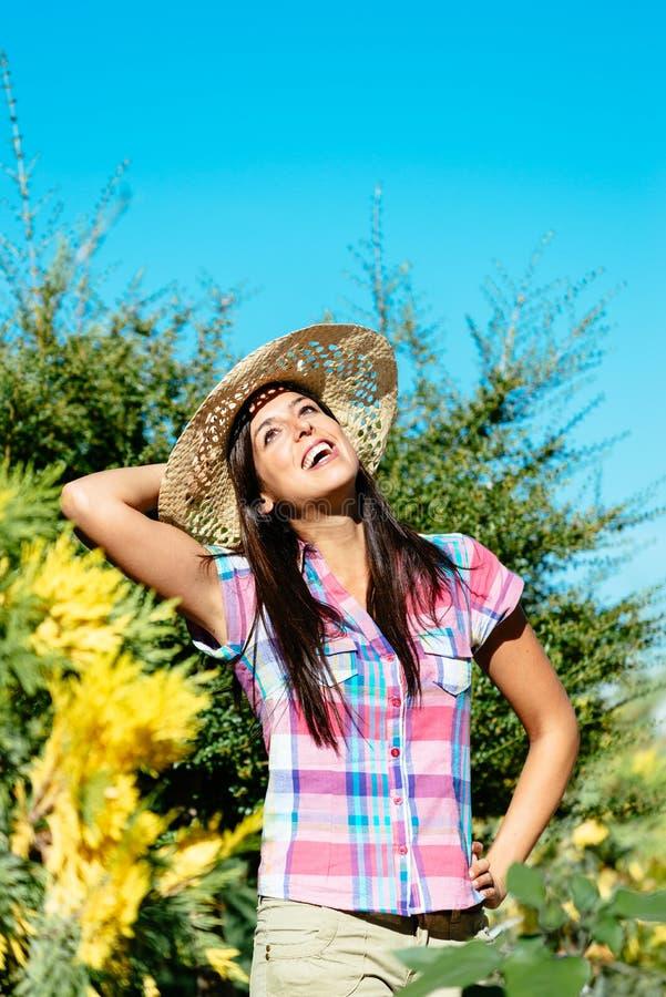 Female happy gardener royalty free stock image