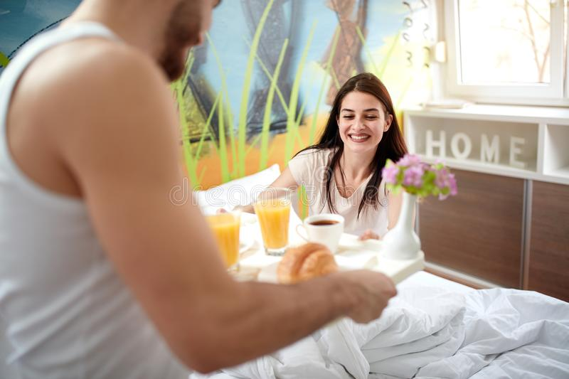 Valentine`s morning with breakfast in bed stock photos