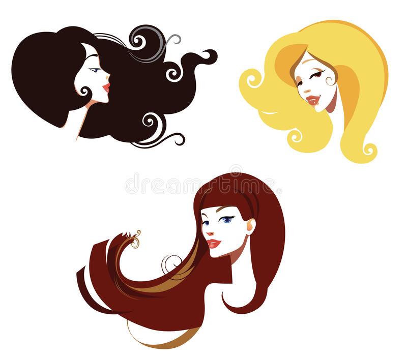 Female head. Vector illustration of a girls face with long hair