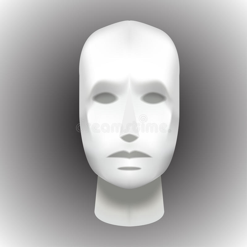 Female Head Blank Mannequin - Front view vector EPS royalty free illustration