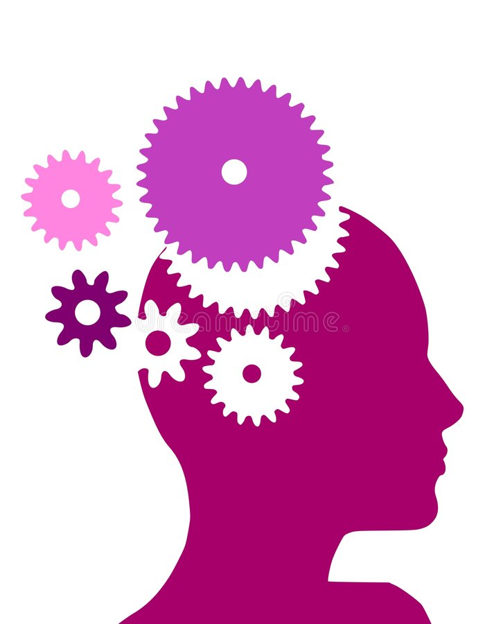 Female Head With Gears. An illustration featuring a female head with gears in purple and pink colours royalty free illustration