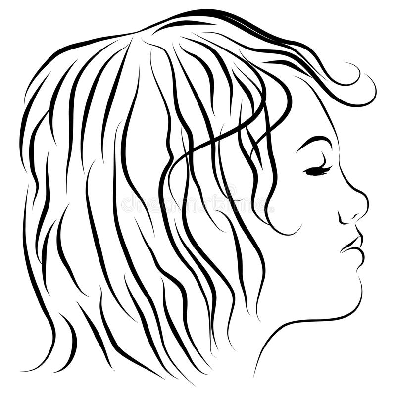 Female Head Profile Line Drawing royalty free illustration