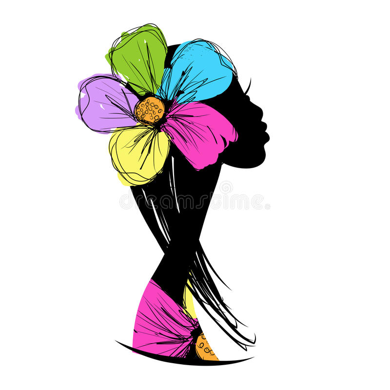 Female head silhouette for your design. This is file of EPS8 format vector illustration