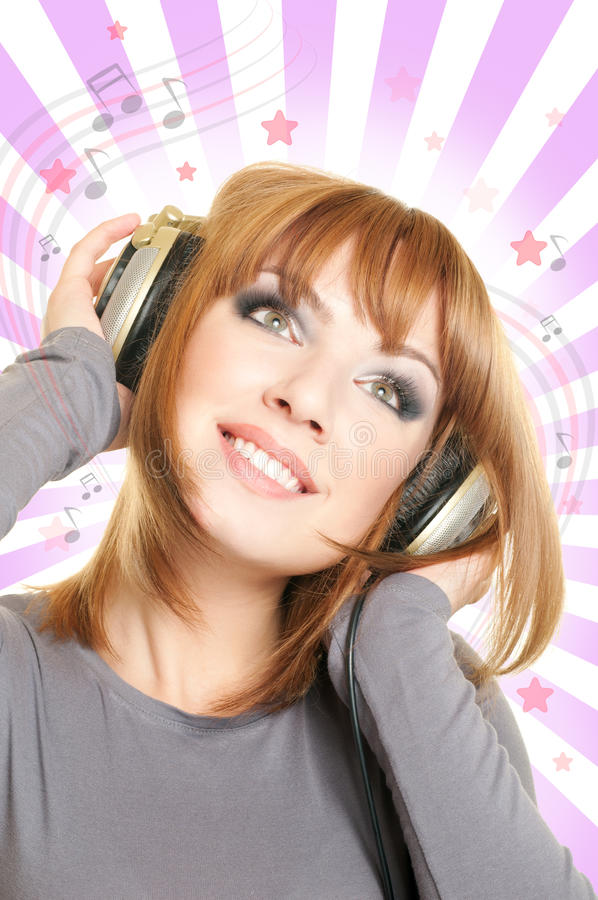 Download Female with headphones stock photo. Image of girl, music - 18346852