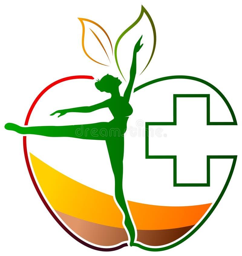Female health. Illustrated isolated female health logo design royalty free illustration