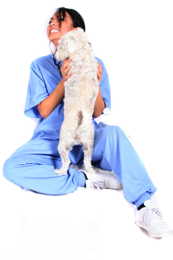 Free Female Healthcare Worker With Dog Royalty Free Stock Photography - 1549017