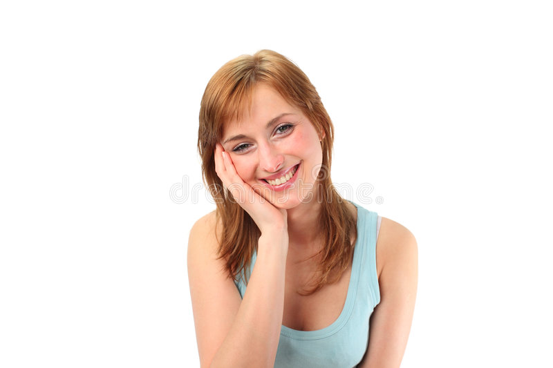 Female with her hands on her face stock image