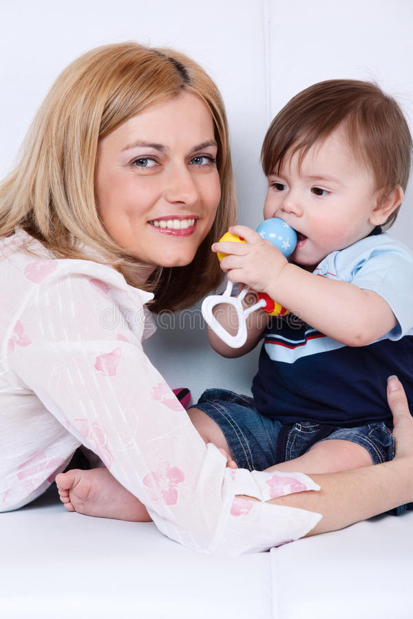 Female And Her Toddler Son Stock Photo