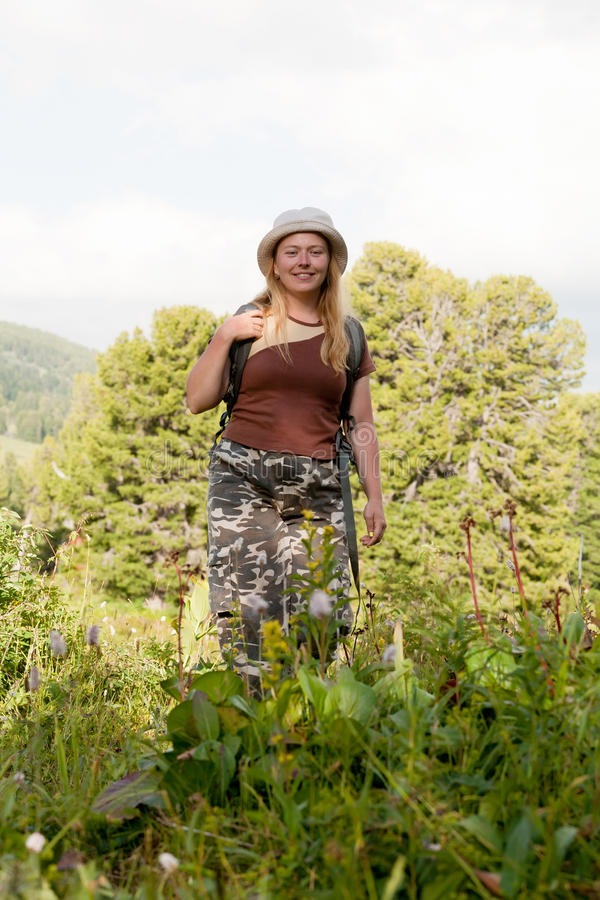 Female hiker with backpack royalty free stock photos