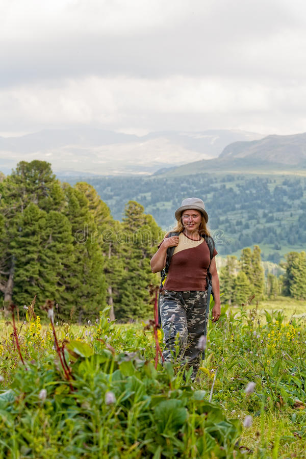 Female hiker with backpack royalty free stock images