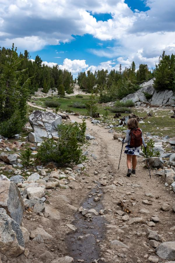 Female hiker concentrates while hiking on a dowhill slope in the Eastern Sierra Nevada mountains in the Little Lakes Valley trail.  royalty free stock image