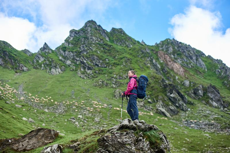 Female hiker in the mountains of Romania stock images