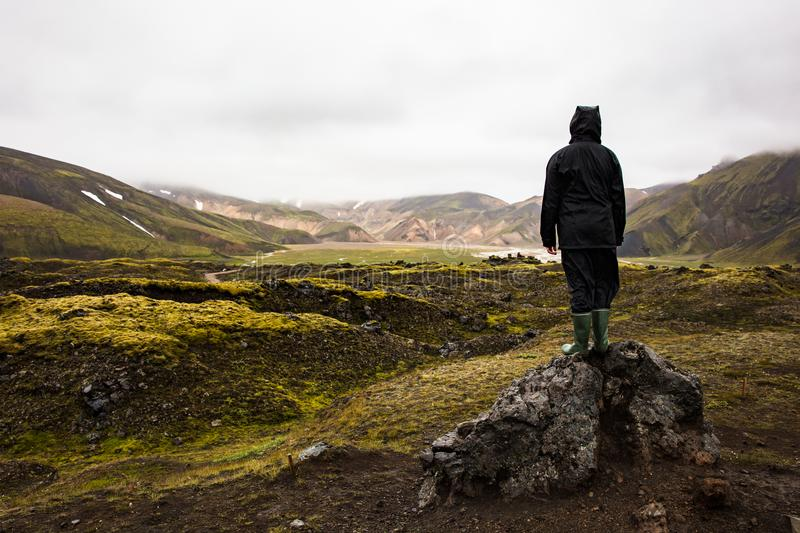 Female Hiker Standing On Rock While Enjoying Nature At Iceland stock images