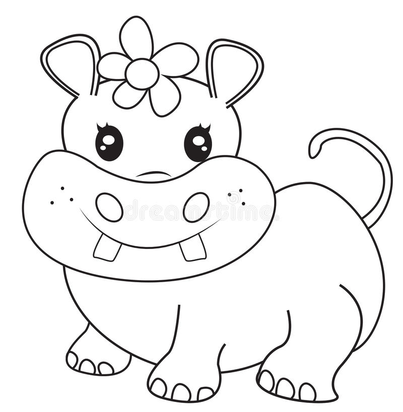 Female Hippopotamus Coloring Page Stock Illustration Illustration