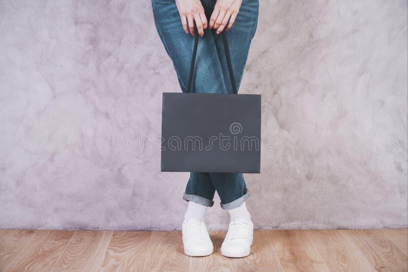 Female holding blank shopping bag royalty free stock images