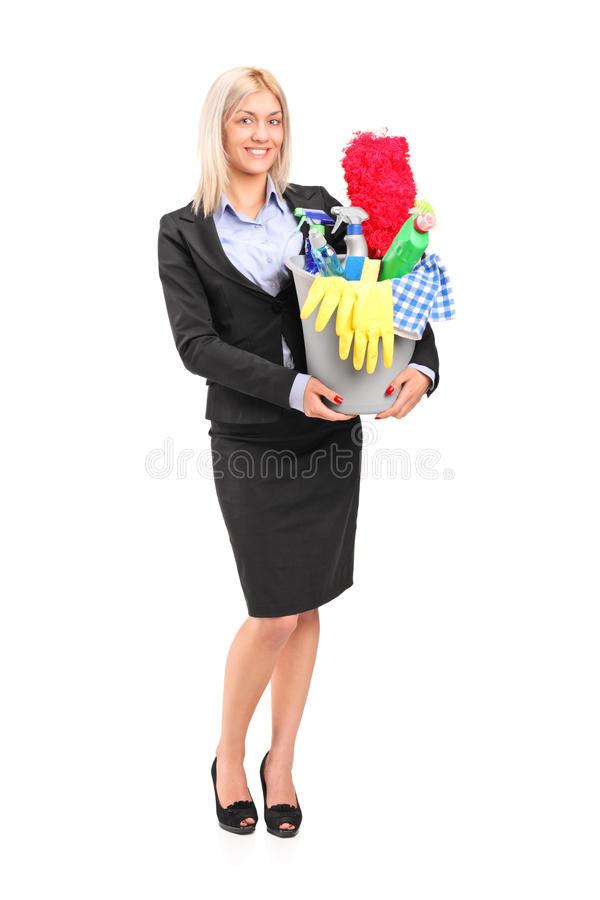 Download Female Holding A Bucket With Cleaning Supplies Stock Photo - Image: 22080180