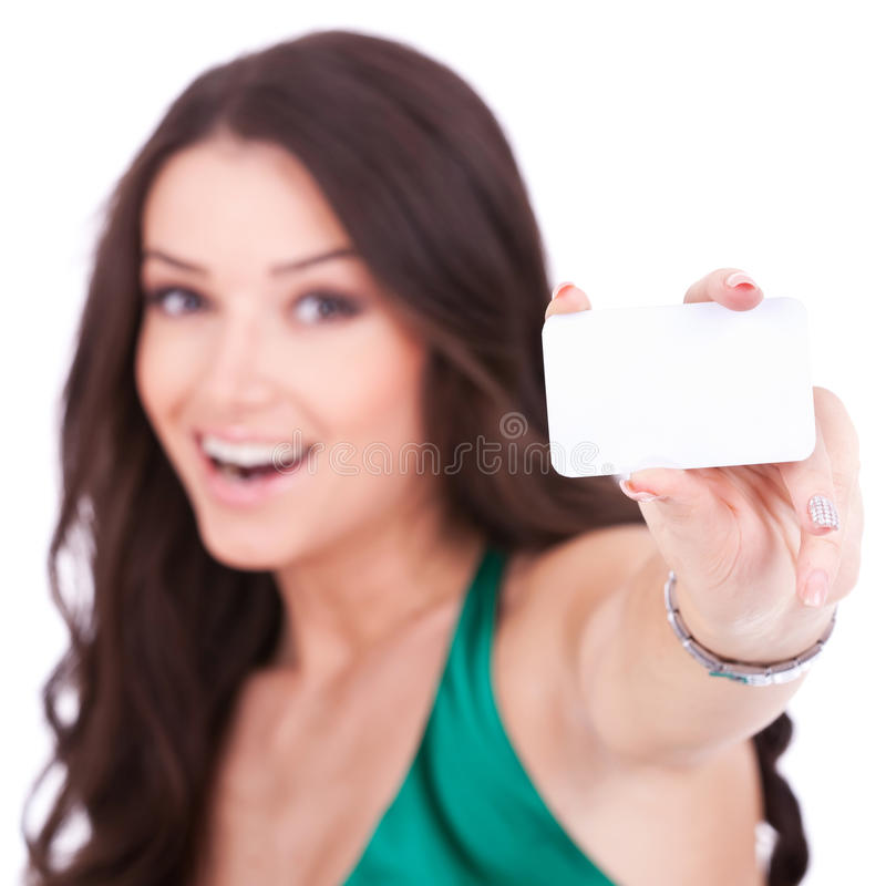 Download Female holding credit card stock photo. Image of brunette - 22088586