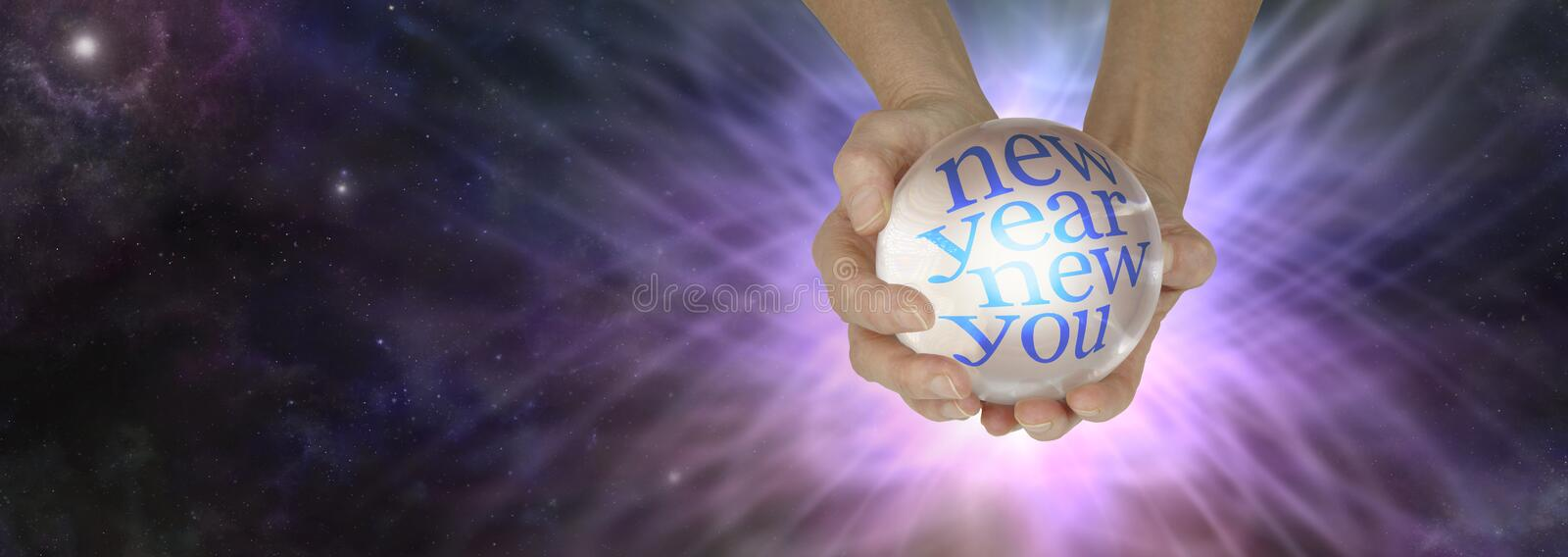 Find out what the New Year holds with a crystal ball reading stock illustration