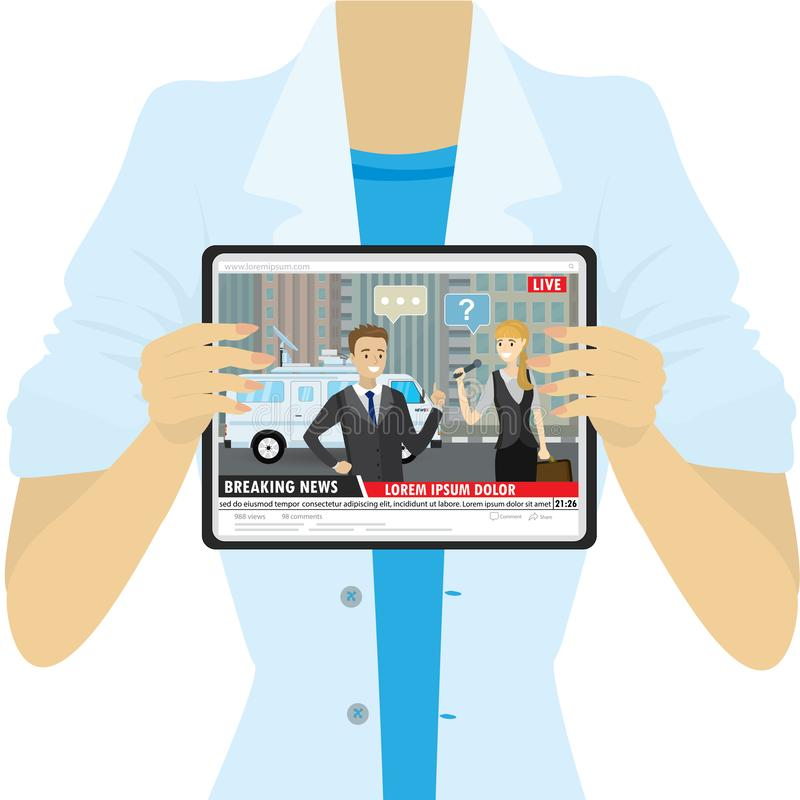Free Female Holding Tablet Pc,TV Report Or Breaking News On The Screen Stock Image - 165295191