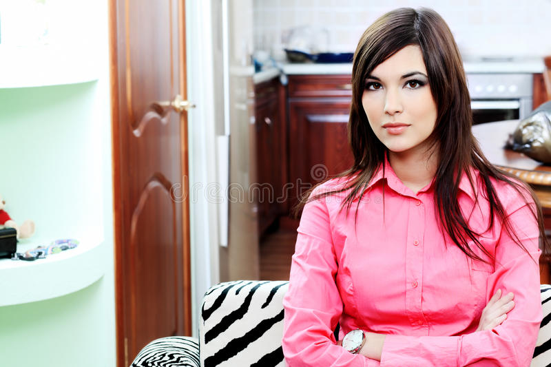 Female at home royalty free stock photo