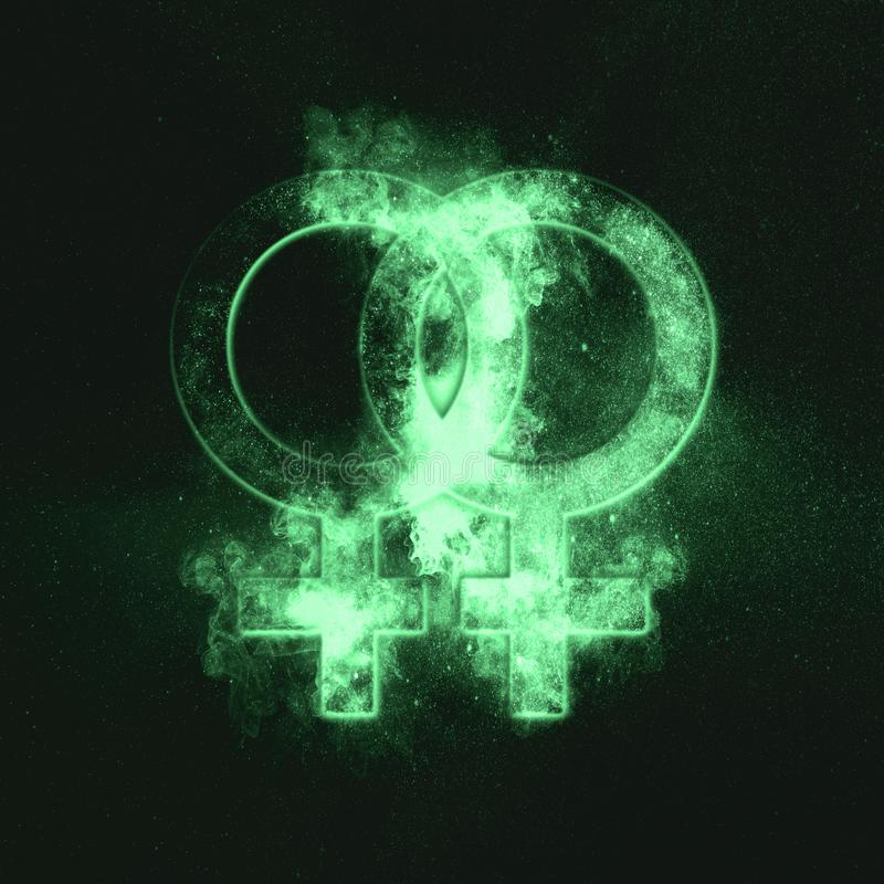 Female homosexuality symbol. Lesbian glyph. Doubled female sign. Green symbol. Symbol stock images