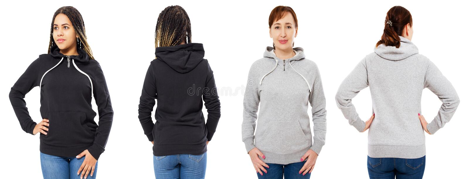 Female hood collage front and back view isolated - caucasian and black woman in hoodie mock up stock image