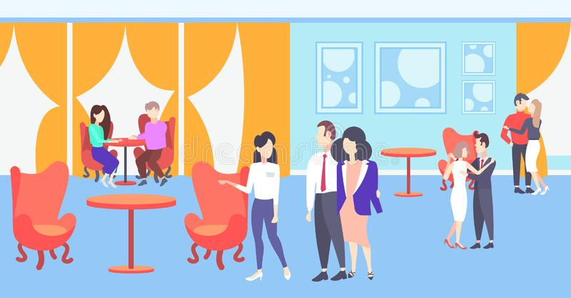 Female hostess welcoming visitors couple waitress inviting guests hospitality staff concept modern restaurant interior. Flat horizontal full length vector royalty free illustration