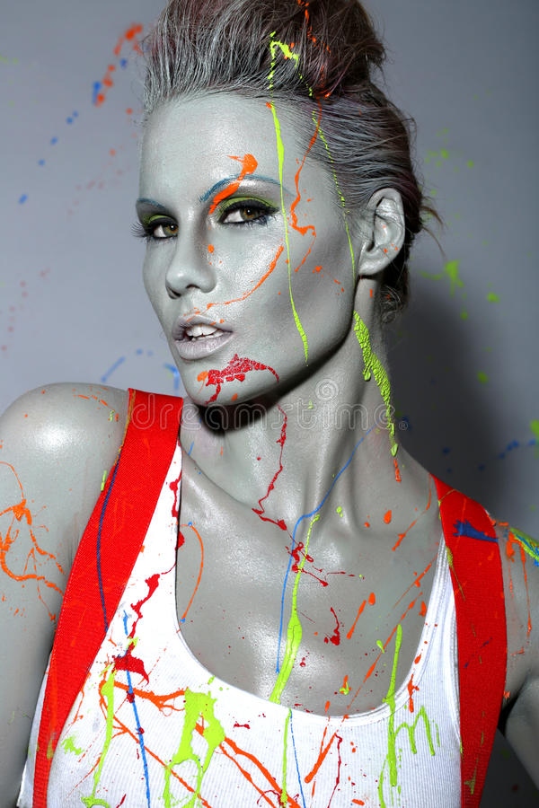 Download Female House Painter Splattered With Latex Paint Stock Image - Image: 35057541