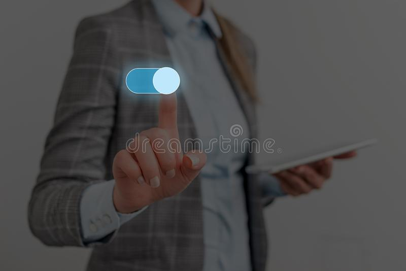 Female human presenting a presentation using the latest sophisticated devices. Woman wear formal working suit stock images