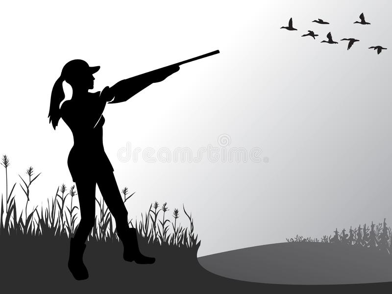 Female hunting. The girl is shooting at flying ducks. A woman with a gun. Active lifestyle. Hobbies for brave people. Vector. stock illustration