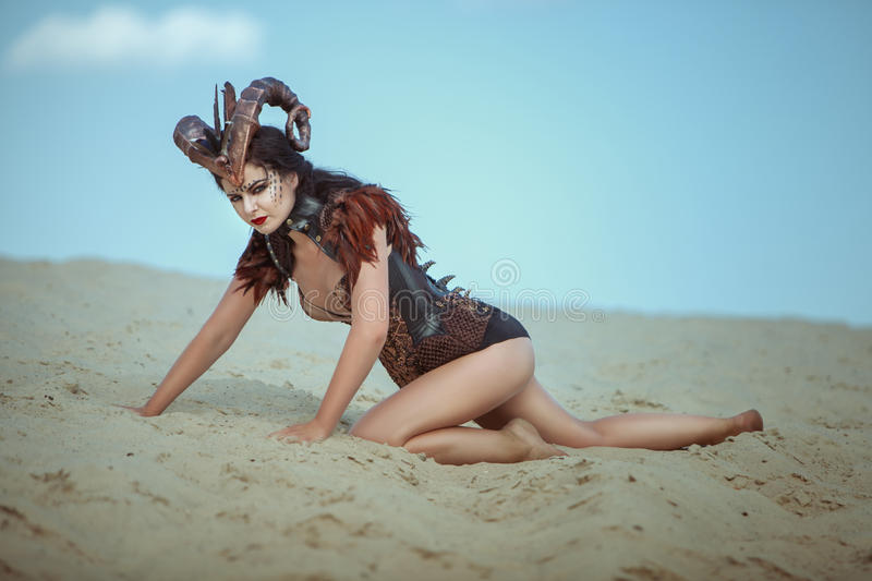 Female ibex with horns. Female capricorn with horns on her head crawling along the sand in the desert royalty free stock photography