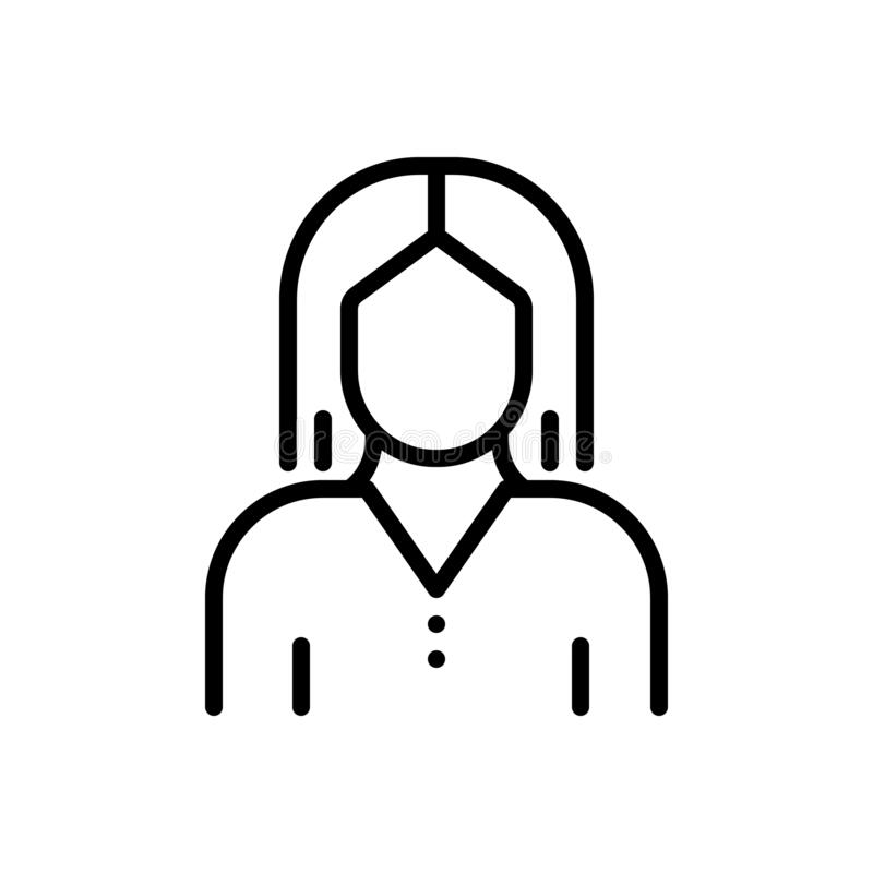 Black line icon for Female, dowager and gal. Black line icon for Female, lady, woman, user, girl,  dowager and gal vector illustration