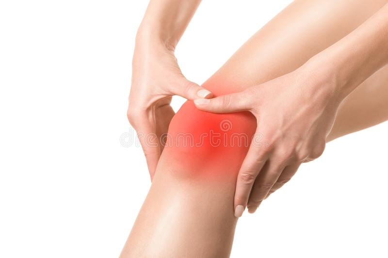Female injured knee joint. Sore spot highlighted by red marker. Woman touches her leg by hands. Well groomed skin, close. Up, isolated on white. Trauma, pain stock image