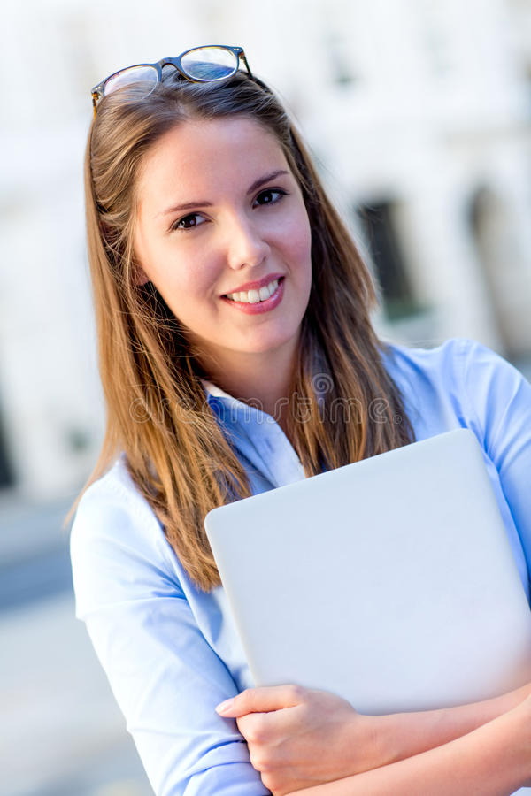 Download Female Intern With A Laptop Stock Image - Image: 26581155