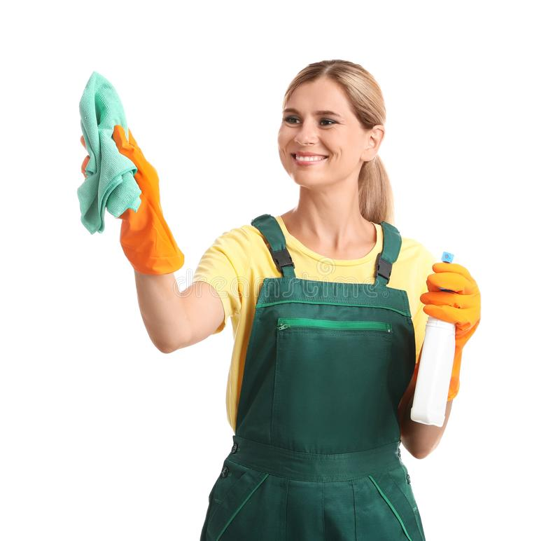 Female janitor with rag and bottle of detergent on white background royalty free stock photo