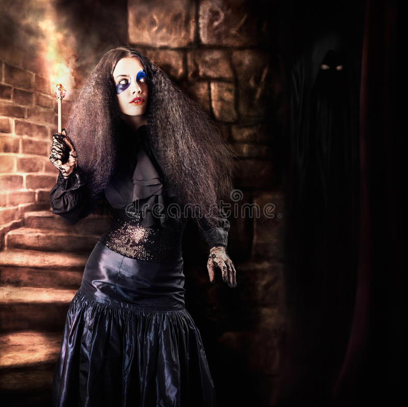 Download Female Jester Walking Inside Dark Castle Stairwell Stock Image - Image of background, up: 30482709