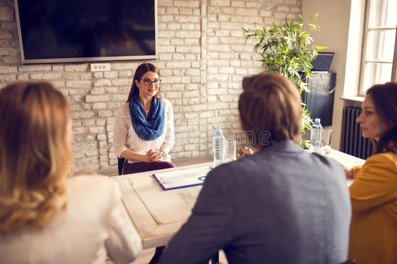 Female on job interview royalty free stock photos