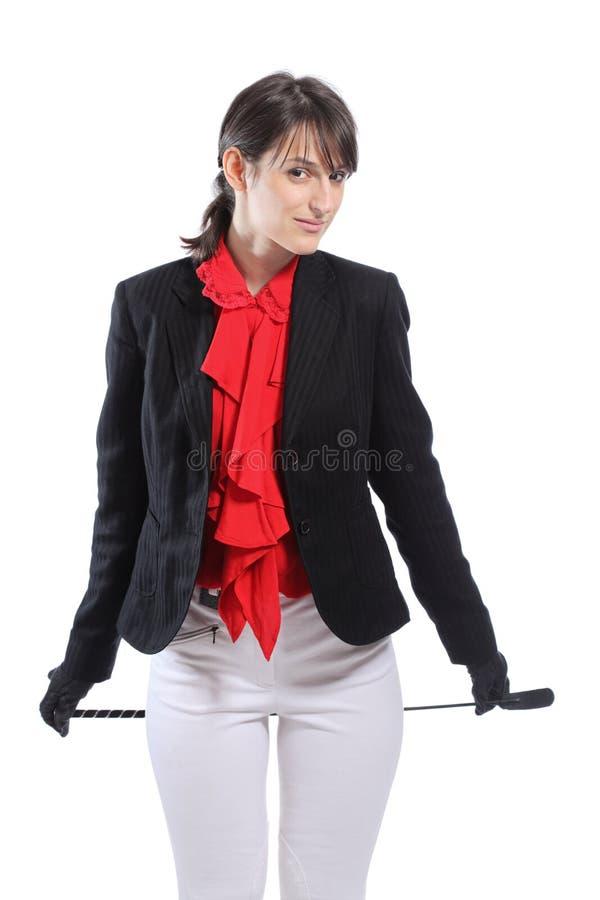 Female jockey. Female horseback rider isolated on white background royalty free stock photo